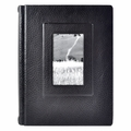 Italian Leather Window Album 9x12 Black with 50 Black Pages