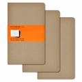 Moleskine Large Ruled Cahier Journal: Set of 3 Kraft