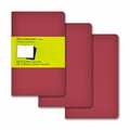 Moleskine Plain Cahier Journal - Red Pocket Set of 3