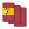 Moleskine Squared Cahier Journal - Red Pocket Set of 3