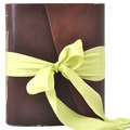 One of a Kind Peridot Ribbon Handmade Leather Journal