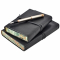 Roma Lussa Italian Leather Journal - Black