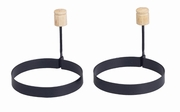 Non-Stick Egg Rings w/Wood Handle Set/2