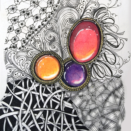 Feb 25 - Zentangle Zen-Gems with Colored Pencils, with Cathy Boytos