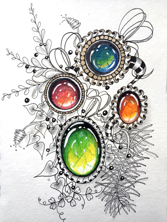 Jul 15 - Zentangle and Colored Pencils: Zen Gems with Cathy Boytos