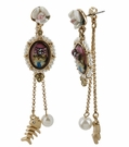 BETSEY JOHNSON Cameo Fish Chain Earrings