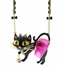 BETSEY JOHNSON Cat In Ballerina Skirt Necklace