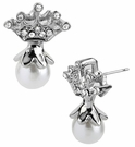 BETSEY JOHNSON Crystal Crown Pearl Earrings