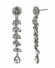BETSEY JOHNSON Crystal Flower Linear Drop Earrings