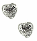 "BETSEY JOHNSON Crystal Hear ""Love Me"" Studs"