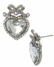 BETSEY JOHNSON Crystal Heart Bow Stud Earrings