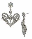 BETSEY JOHNSON Crystal Heart Drop Earrings