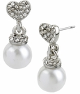 BETSEY JOHNSON Crystal Heart Pearl Earrings