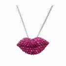 BETSEY JOHNSON Crystal Lip Necklace