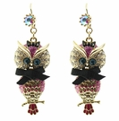 BETSEY JOHNSON Crystal Owl Drop Earrings