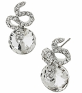 BETSEY JOHNSON Crystal Snake Circle Stud Earrings