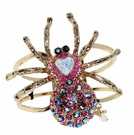 BETSEY JOHNSON Crystal Spider Hinged Cuff