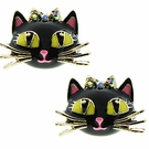 BETSEY JOHNSON Enamel Black Cat Studs