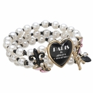 BETSEY JOHNSON Paris Pearl Heart Stretch Bracelet