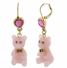 BETSEY JOHNSON Pink Bear Drop Earrings