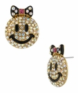 BETSEY JOHNSON Smiley Face Crystal Stud Earrings