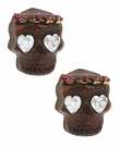 BETSEY JOHNSON Wood Skull Studs