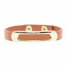 JEST JEWELS Brown Leather Gold Bar Snap Bracelet