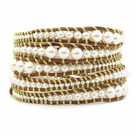 CHAN LUU Cream Pearl Mix Graduated Wrap Bracelet