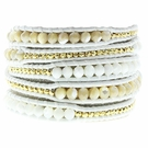 CHAN LUU White Leather Gold Nugget Wrap