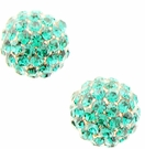 JEST JEWELS Pave Ball Studs-Green