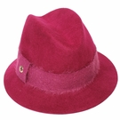 Italian Wool Hat-Fedora Rib Berry