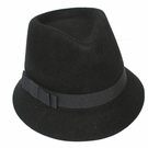 Italian Wool Hat-Small Brim Fedora Black