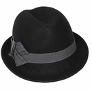 Italian Wool Hat-Small Pork Pie Fedora Black