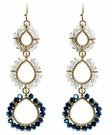 JEST JEWELS 3 Drop Beaded Earrings-Blue Grey