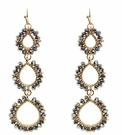 JEST JEWELS 3 Drop Beaded Earrings-Hematite