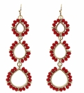JEST JEWELS 3 Drop Beaded Earrings-Red