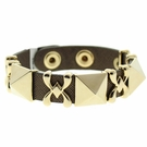 JEST JEWELS 3 Pyramid Dark Brown Snap Bracelet