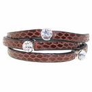 JEST JEWELS 3 Row Leather Crystal Wrap Bracelet-Brown