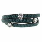 JEST JEWELS 3 Row Leather Crystal Wrap Bracelet-Teal