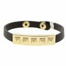 JEST JEWELS 5 Pyramid Dark Brown Snap Bracelet