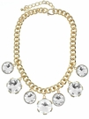 JEST JEWELS 7 Charm Large Crystal Necklace-Gold