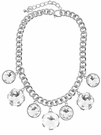 JEST JEWELS 7 Charm Large Crystal Necklace-Silver
