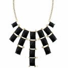 JEST JEWELS 7 Drop Rectangle Necklace-Black