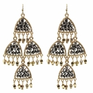 JEST JEWELS Beaded Chandelier Earrings-Hematite