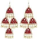 JEST JEWELS Beaded Chandelier Earrings-Red