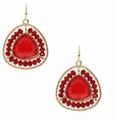 JEST JEWELS Beaded Gemstone Drop Earring-Red