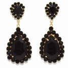 JEST JEWELS Beaded Tear Drop Earrings-Black