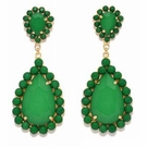 JEST JEWELS Beaded Tear Drop Earrings-Green