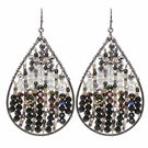 Black Bead Mix Teardrop Earrings