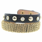 JEST JEWELS Black Leather Chain Snap Bracelet